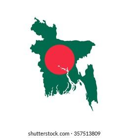 Flag and map of Bangladesh