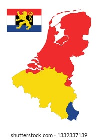Flag and Map of Benelux