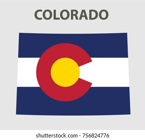 Flag and map of Colorado. Vector illustration.
