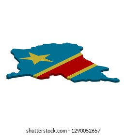 Flag and map of Democratic Republic of the Congo. Color silhouette of 3D map of Democratic Republic of the Congo vector illustration