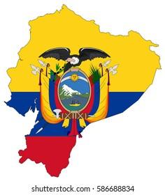 Flag map of Ecuador
