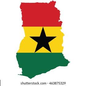 flag map of Ghana