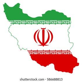 Flag map of Iran