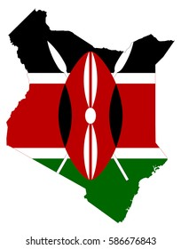 Flag map of Kenya