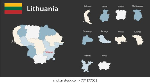 Flag and map of Lithuania with borders on a black background. Vector illustration.