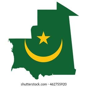 flag map of Mauritania