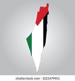Flag  Map of Palestine
