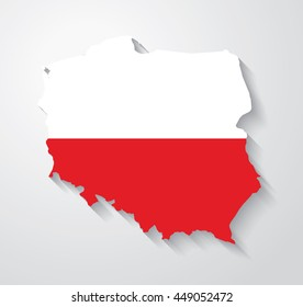 Flag map of Poland with cast shadow effect