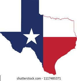 Flag map of Texas