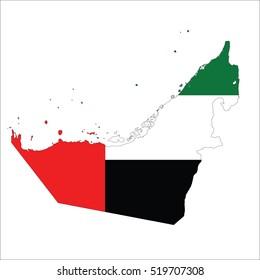 flag map of United Arab Emirates.