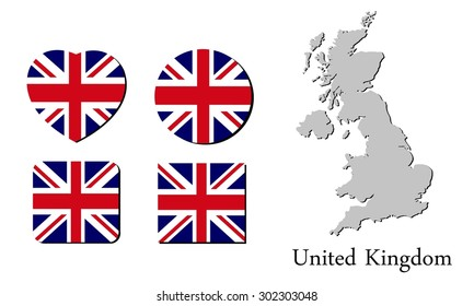 flag and map of united kingdom, vector illustration, graphic design, flag united kingdom, map united kingdom