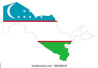 Flag map of Uzbekistan