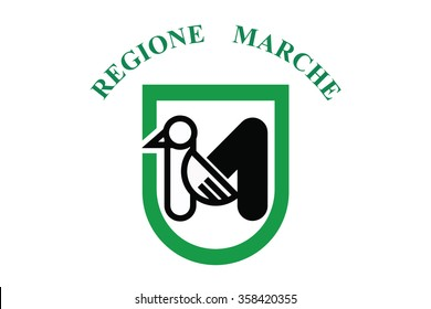 Flag of Marche regions,autonomous regions of Italy. Vector illustration.