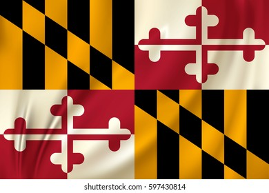 Flag of Maryland state of the United States. Vector illustration. Waving in the wind on silk background
