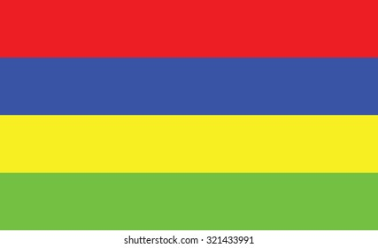 Flag of Mauritius, national country symbol. Vector illustration of Mauritius flag