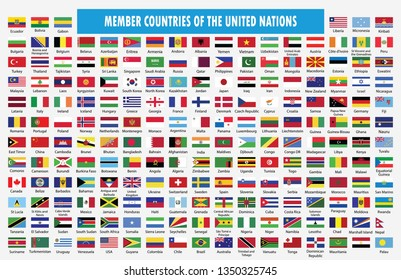 Flag of member countries of the United Nation.World flag collection with country name