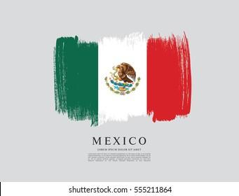 Flag of Mexico, brush stroke background