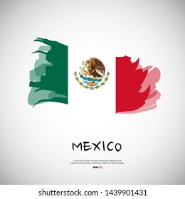Flag of Mexico with brush stroke, grunge style background vector.