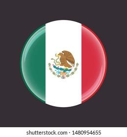 Flag of Mexico button, vector mexican symbol
