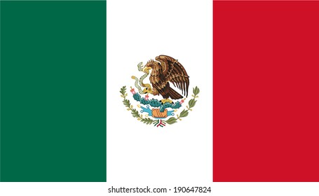 Flag of Mexico with coat of arms. Vector. Accurate dimensions, elements proportions and colors.