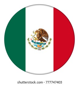 Flag of Mexico, icon. Realistic color. Abstract concept. Vector illustration on white background.