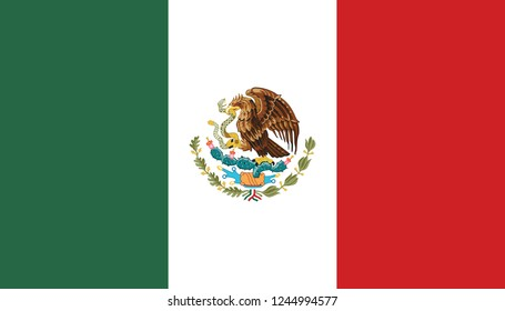Flag of Mexico in official rate and colors vector.