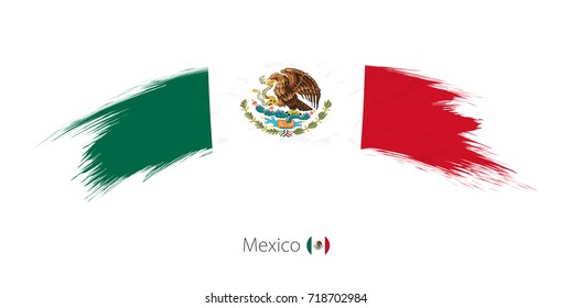 Flag of Mexico in rounded grunge brush stroke. Vector illustration.