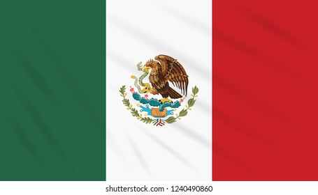 Flag Mexico swaying in wind, realistic vector.