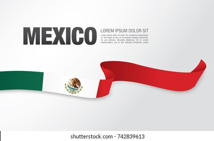 Flag of Mexico, vector illustration, card layout design