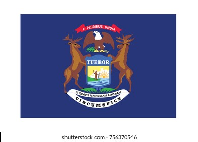 Flag of Michigan on a white background. Vector illustration.