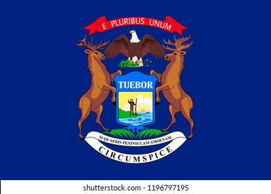 Flag of Michigan is a state in United States. Vector illustration