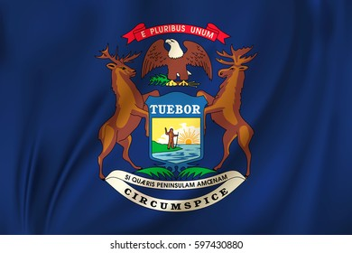 Flag of Michigan state of the United States. Vector illustration. Waving in the wind on silk background
