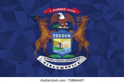 Flag of Michigan. In the United States. In Polygonal Striped . vector eps10.