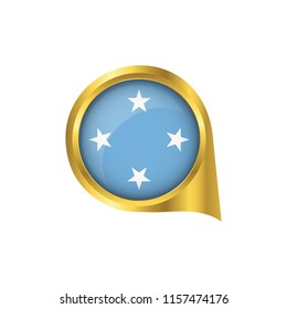 Flag of Micronesia, location map pin, pointer flag Micronesia, button gold, Icon country . Vector Illustration EPS10.