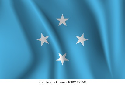 Flag of Micronesia. Realistic waving flag of Federated States of Micronesia. Fabric textured flowing flag of Micronesia.
