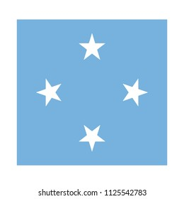 Flag of Micronesia,Micronesia flag Vector Square Icon - Illustration,Micronesia Flag of . Abstract concept, icon, square, button. Raster illustration on white background.