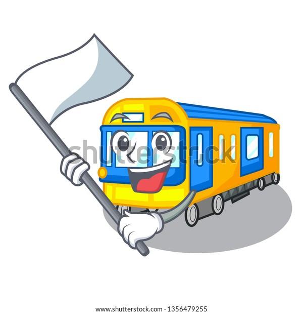 Flag Miniature Subway Train Cartoon Above Stock Vector Royalty Free 1356479255