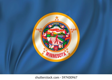 Flag of Minnesota state of the United States. Vector illustration. Waving in the wind on silk background