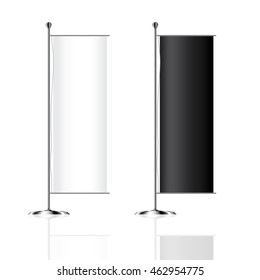 Flag mockup, Blank advertising flags or billboards vector template illustration