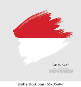 Flag of Monaco, brush stroke background