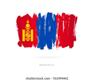 Flag of Mongolia. Vector illustration on white background. Beautiful brush strokes. Abstract concept. Elements for design.
