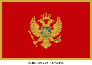 Flag of Montenegro is a country in Southeastern Europe on the Adriatic Sea. Vector illustration