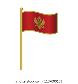 Flag of Montenegro ,Montenegro flag official colors and proportion correctly, Montenegro flag waving isolated Vector illustration eps10.