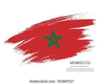 Flag of Morocco, brush stroke background