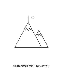 Flag, mountain, startup icon. Vector illustration, flat design.