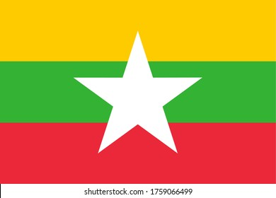 Flag of Myanmar, National Republic of the Union of Myanmar flag, The capital city is Nay Pyi Taw.