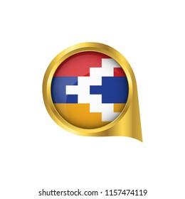 Flag of Nagorno Karabakh, location map pin, pointer flag Nagorno Karabakh, button gold, Icon country . Vector Illustration EPS10.