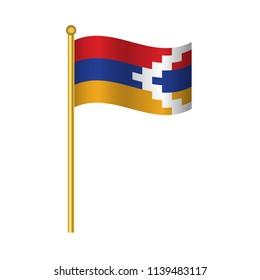 Flag of Nagorno Karabakh ,Nagorno Karabakh flag official colors and proportion correctly,Nagorno Karabakh flag waving isolated Vector illustration eps10.