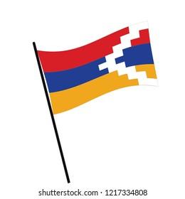 Flag of Nagorno Karabakh , Nagorno Karabakh flag waving isolated vector illustration