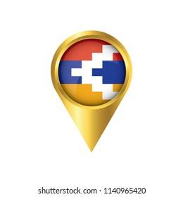 Flag of Nagorno Karabakh.symbol check in Nagorno Karabakh, golden map pointer with the national flag of Nagorno Karabakh in the button. vector illustration.